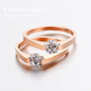 YUN RUO Shiny Crystal Wedding Ring New Design Titanium Steel Rose Gold Color Jewelry Valentine's Day USA Size