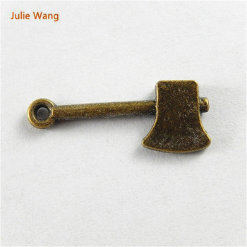 Julie Wang 20pcs Trendy Antique Bronze Alloy Axe Charms Suspension Pendant Necklace Jewelry Handcradt Accessory 51668