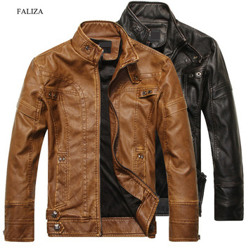 FALIZA New Winter Men's Leather Jackets Motorcycle PU Men Leather Jackets Jackets and Coats Slim Fit Mens Brand Clothing JK136